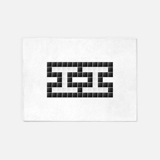 II (Two) (Pixels) (Black & White) 5'x7'Area Rug