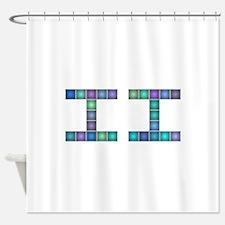 II (Two) (Pixels) (Blue) Shower Curtain