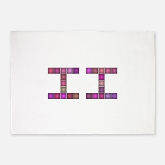 II (Two) (Pixels) (Pink) 5'x7'Area Rug