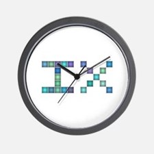 IX (Nine) (Pixels) (Blue) Wall Clock