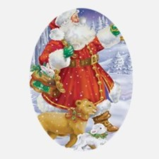 Santa With a Lion and Lamb Oval Ornament