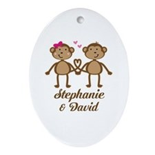Monkey Couple Personalized Gift Oval Ornament