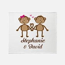 Monkey Couple Personalized Gift Throw Blanket