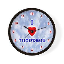 I Love Thaddeus (Red/Bl) Valentine Wall Clock