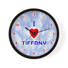 I Love Tiffany (Red/Bl) Valentine Wall Clock
