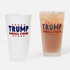 Trump America Strong Navy Red Font Drinking Glass