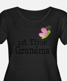 1st Time Grandma Butterfly Plus Size T-Shirt