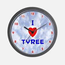 I Love Tyree (Red/Bl) Valentine Wall Clock