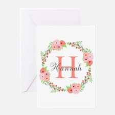 Watercolor Floral Wreath Monogram Greeting Cards