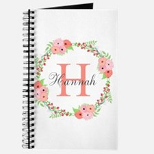 Watercolor Floral Wreath Monogram Journal
