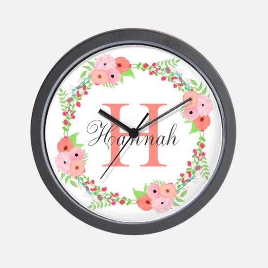 Watercolor Floral Wreath Monogram Wall Clock
