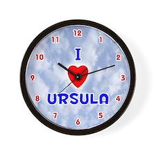 I Love Ursula (Red/Bl) Valentine Wall Clock