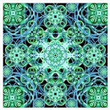 Blue green fractals Wrapped Canvas Art