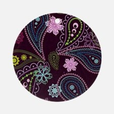 PAISLEY AND FLOWERS ON EGGPLANT Round Ornament