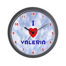 I Love Valeria (Red/Bl) Valentine Wall Clock