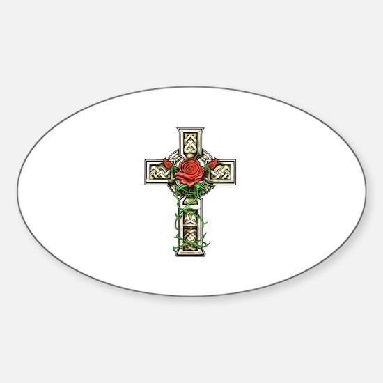 Celtic Cross Rose Oval Decal