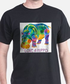 Colorful LOVE A HIPPO T-Shirt