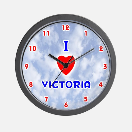 I Love Victoria (Red/Bl) Valentine Wall Clock