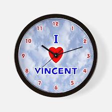I Love Vincent (Red/Bl) Valentine Wall Clock