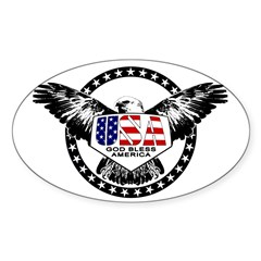 God Bless American Eagle Oval Decal