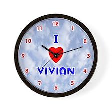 I Love Vivian (Red/Bl) Valentine Wall Clock