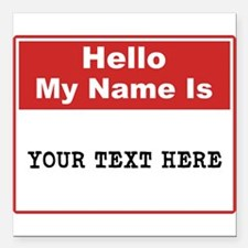 "Custom Name Tag Square Car Magnet 3"" x 3"""