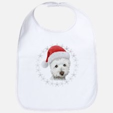 Cute Christmas Westie Dog Art Baby Bib