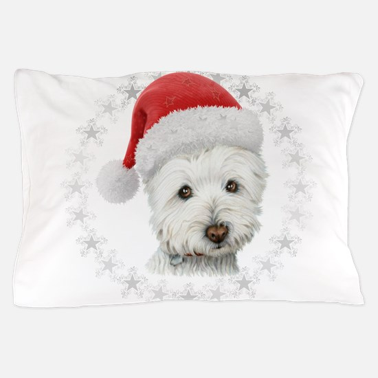 Cute Christmas Westie Dog Art Pillow Case