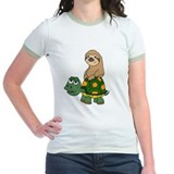 Sloth on turtle Jr. Ringer T-Shirt