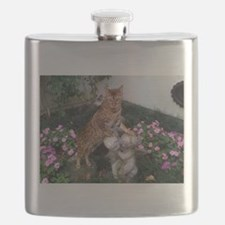bengal on statue Flask