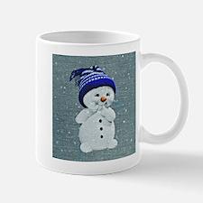 Cute Snowman on Light Blue Mugs
