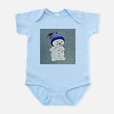 Cute Snowman on Light Blue Body Suit