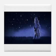 Woman Beneath the Stars Tile Coaster