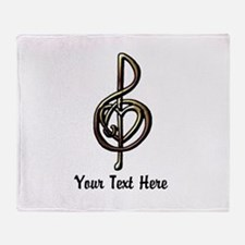 Music Treble Clef Embossed Look Cust Throw Blanket
