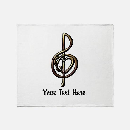 Music Treble Clef Embossed Look Cust Throw Blanket