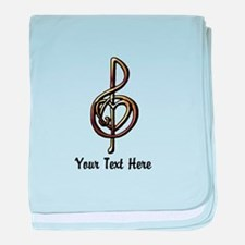 Treble Clef and Heart To Personalize baby blanket