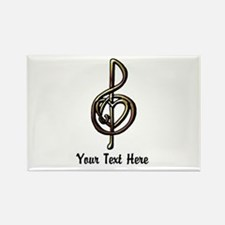 Music Treble Clef Embossed Look C Rectangle Magnet