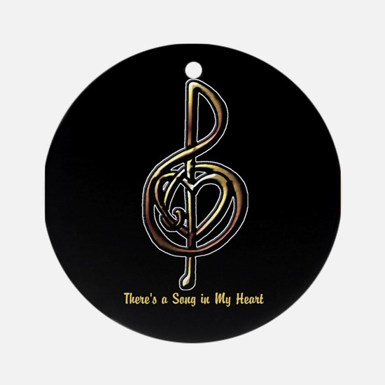 Customized Music Treble Clef and He Round Ornament