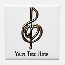 Music Treble Clef Embossed Look Custo Tile Coaster