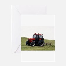 A Red Tractor On The Go Greeting Card