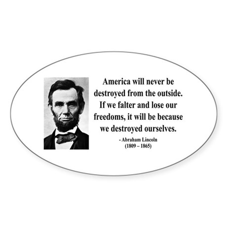 Abraham Lincoln 2 Oval Sticker