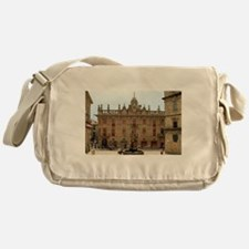 Fountain outside Santiago Cathedral, Messenger Bag