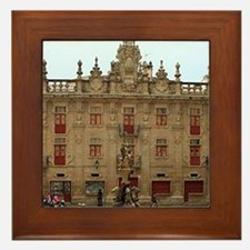 Fountain outside Santiago Cathedral, S Framed Tile