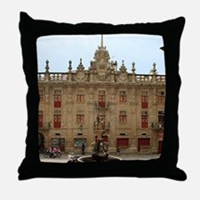 Fountain outside Santiago Cathedral, Throw Pillow