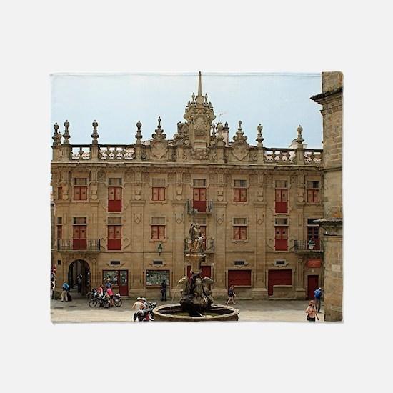 Fountain outside Santiago Cathedral, Throw Blanket