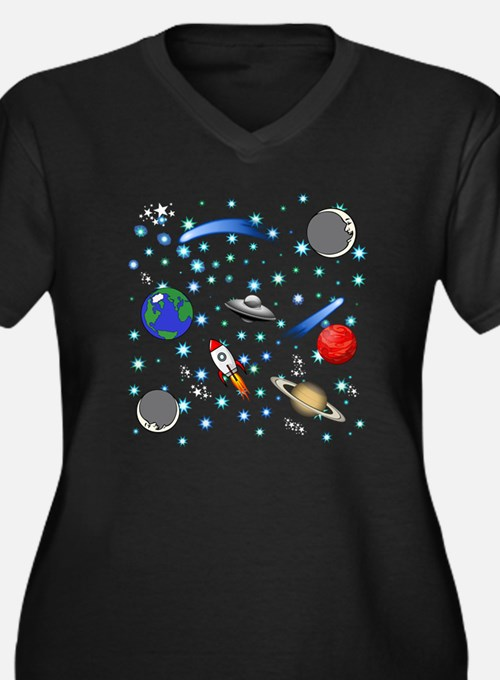 Kids Galaxy Universe Illustratio Plus Size T-Shirt