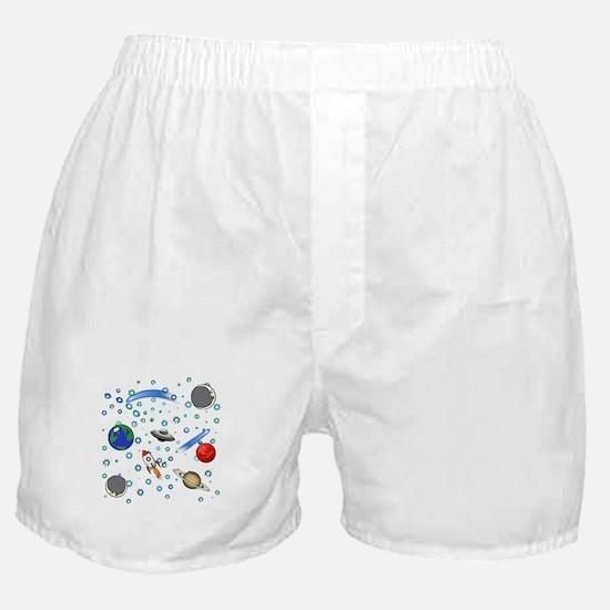 Kids Galaxy Universe Illustrations Boxer Shorts