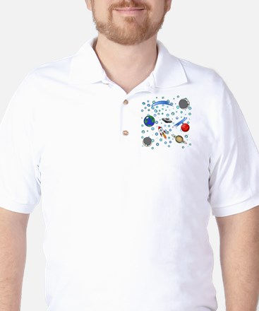 Kids Galaxy Universe Illustrations Golf Shirt