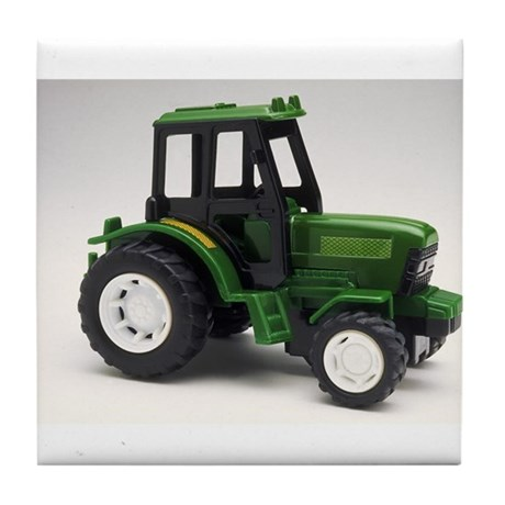 Green Toy Tractor Tile Coaster