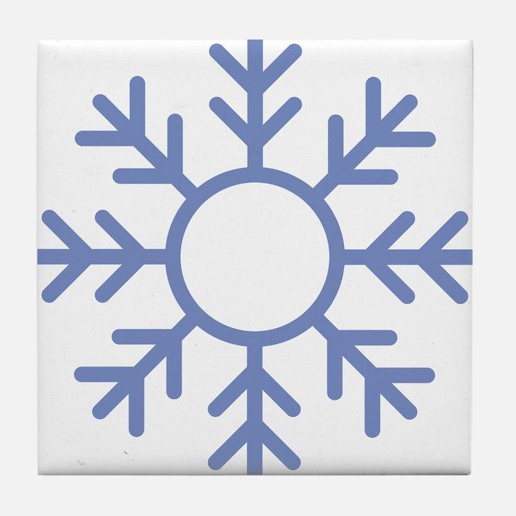 Blue Snowflake Ornament Tile Coaster